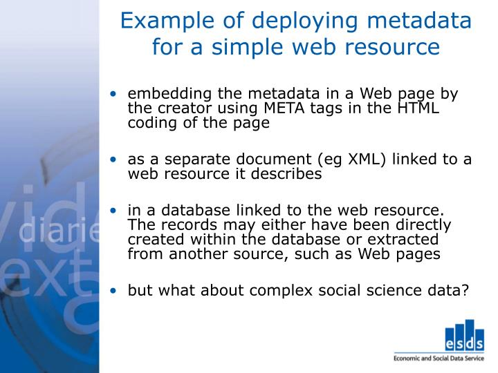 Example of deploying metadata for a simple web resource