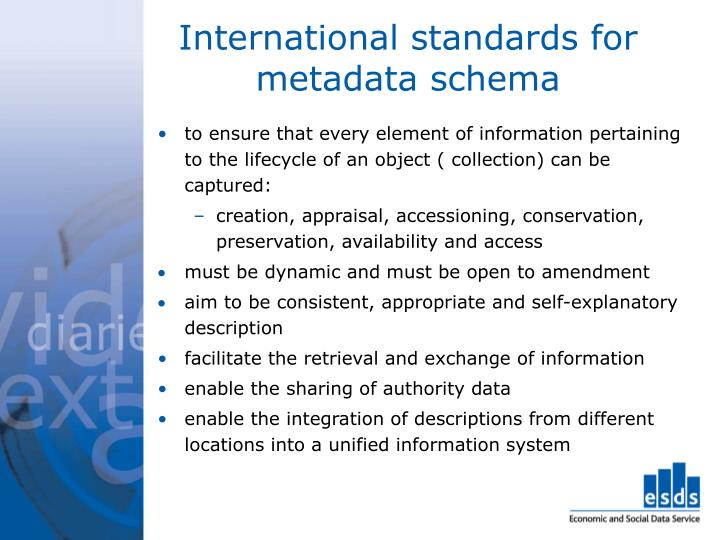 International standards for metadata schema
