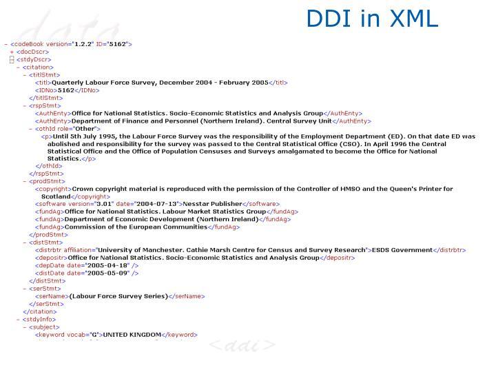 DDI in XML