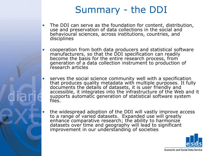 Summary - the DDI