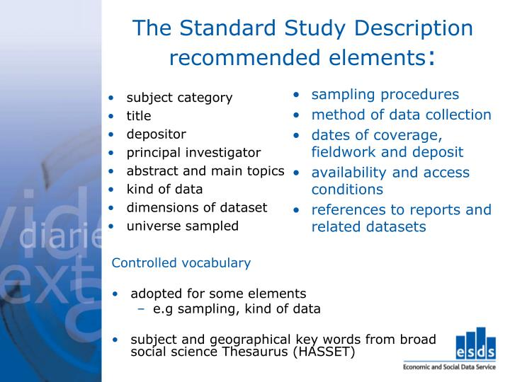 The Standard Study Description