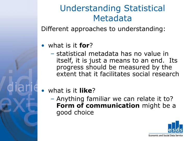 Understanding Statistical Metadata