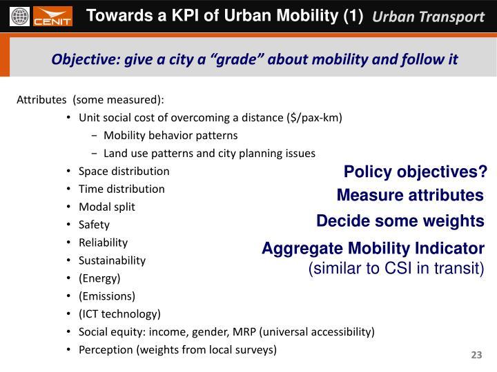 Towards a KPI of Urban Mobility (1)