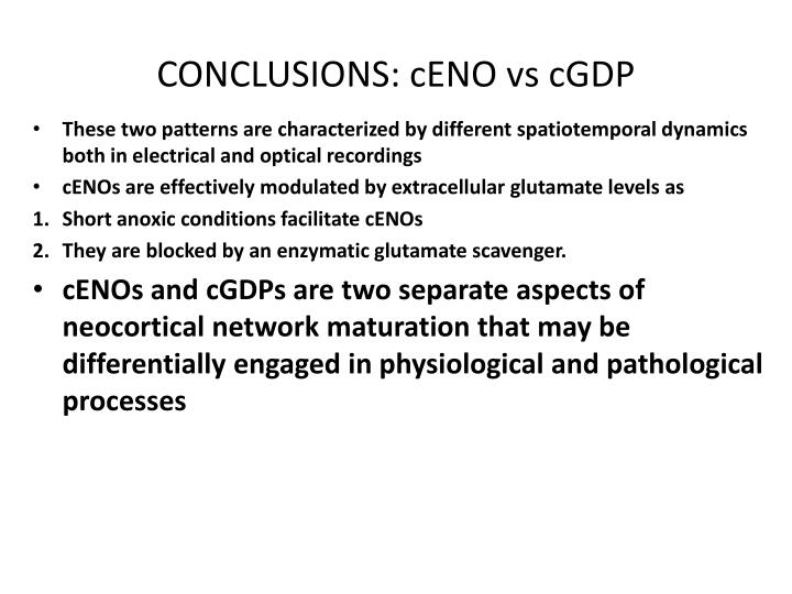CONCLUSIONS: cENO vs cGDP
