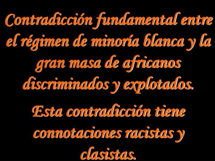 Contradicción fundamental entre el régimen de minoría blanca y la gran masa de africanos discriminados y explotados.