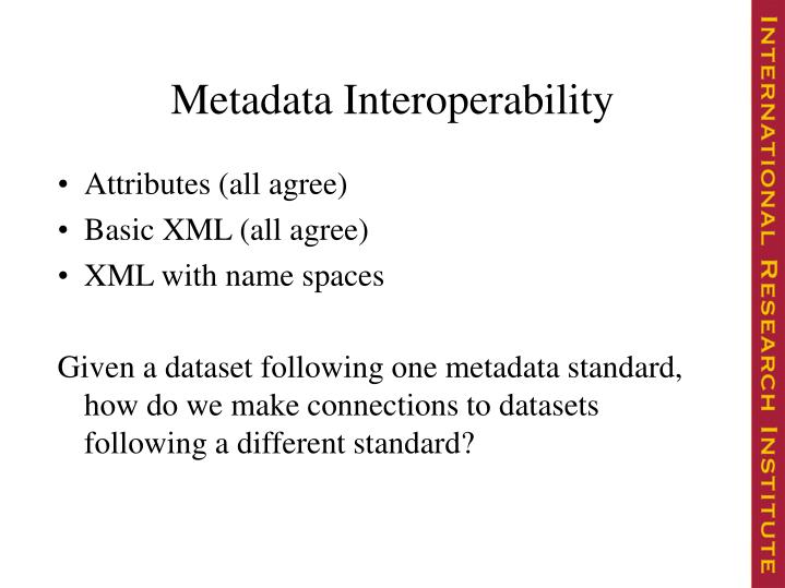 Metadata Interoperability