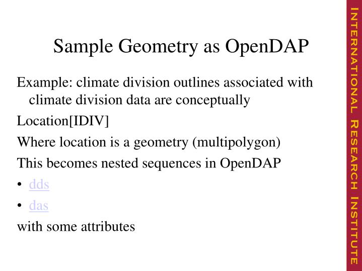 Sample Geometry as OpenDAP