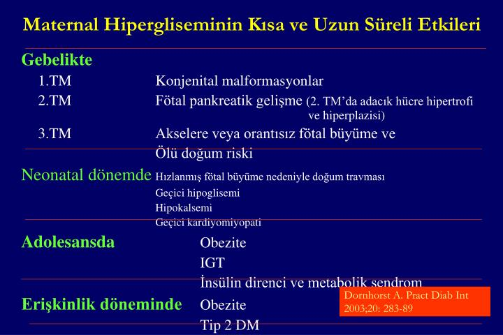 Maternal Hipergliseminin Kısa ve Uzun Süreli Etkileri