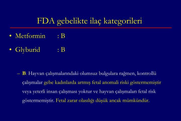FDA gebelikte ilaç kategorileri