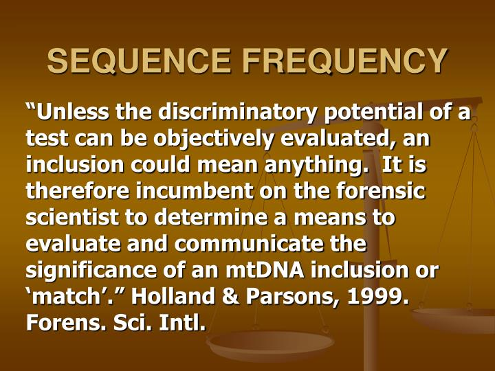 SEQUENCE FREQUENCY