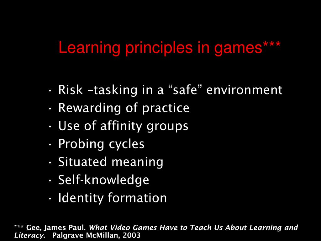 Learning principles in games***