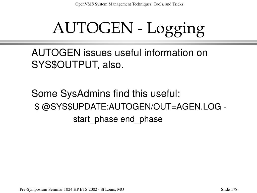 AUTOGEN - Logging