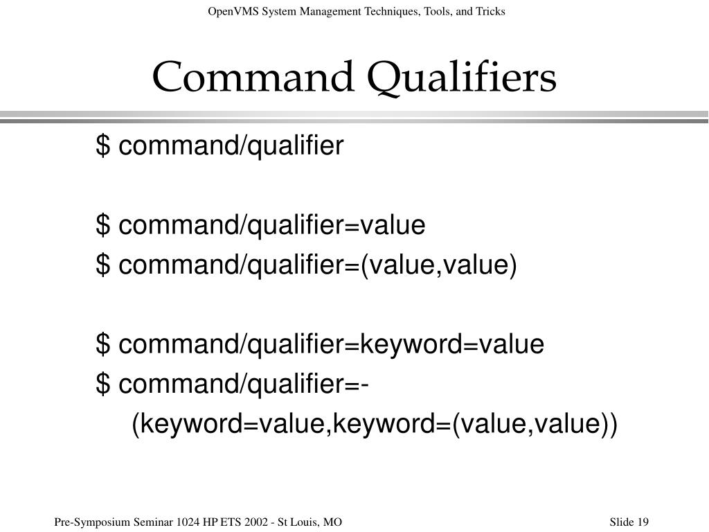 Command Qualifiers