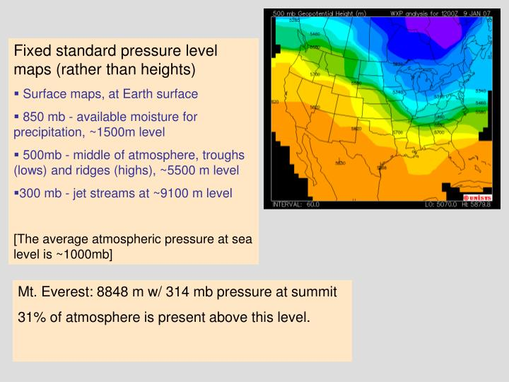 Fixed standard pressure level maps (rather than heights)