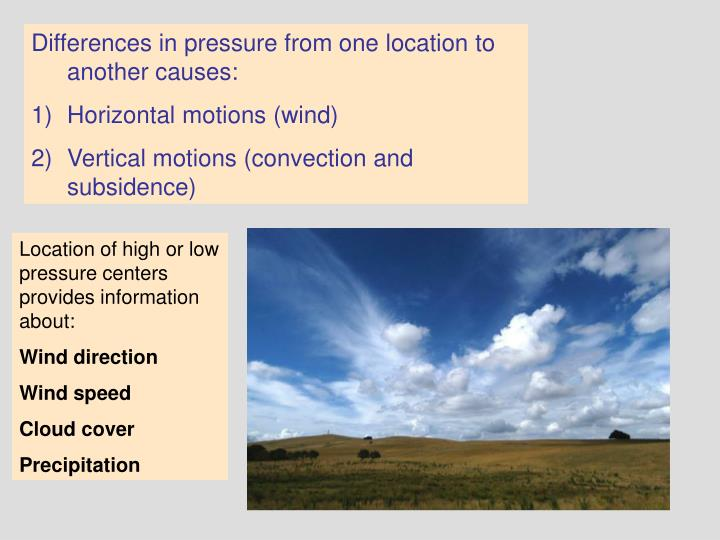 Differences in pressure from one location to another causes: