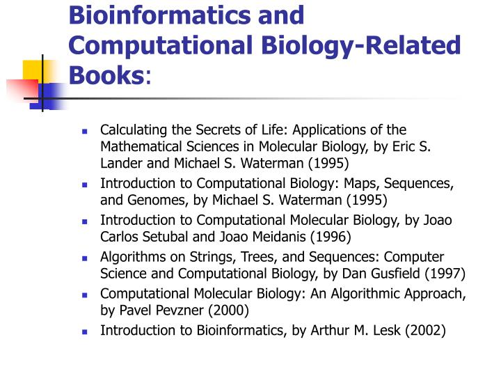 Bioinformatics and Computational Biology-Related Books