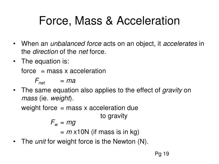 effect of force and mass on