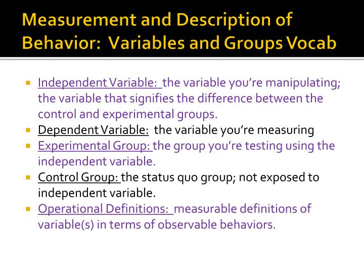 Measurement and Description of Behavior: