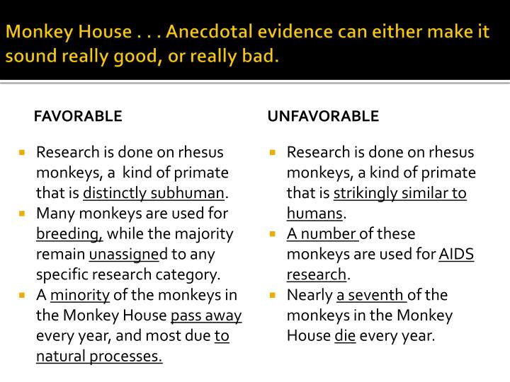 Monkey House . . . Anecdotal evidence can either make it sound really good, or really bad.