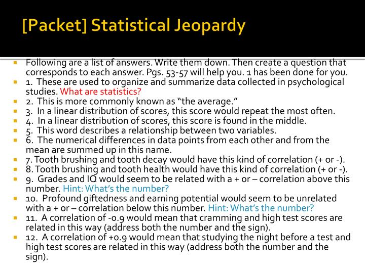 [Packet] Statistical Jeopardy