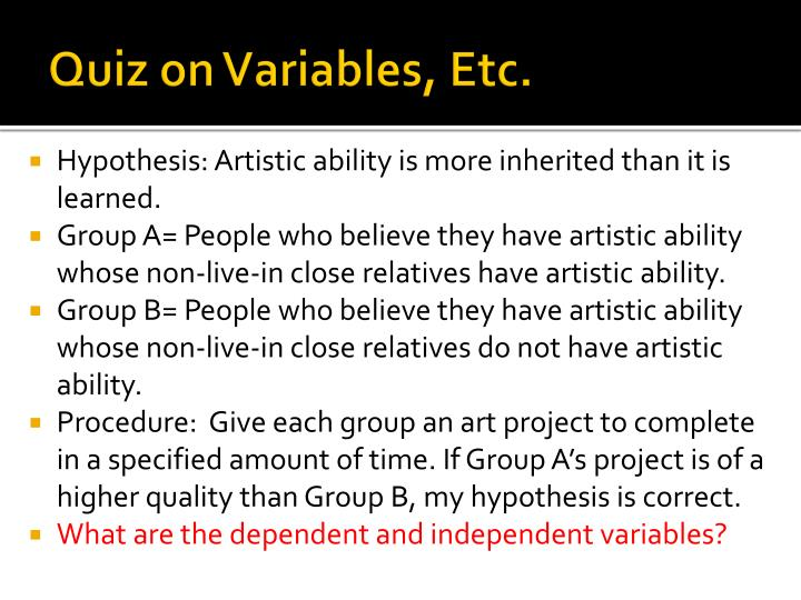 Quiz on Variables, Etc.