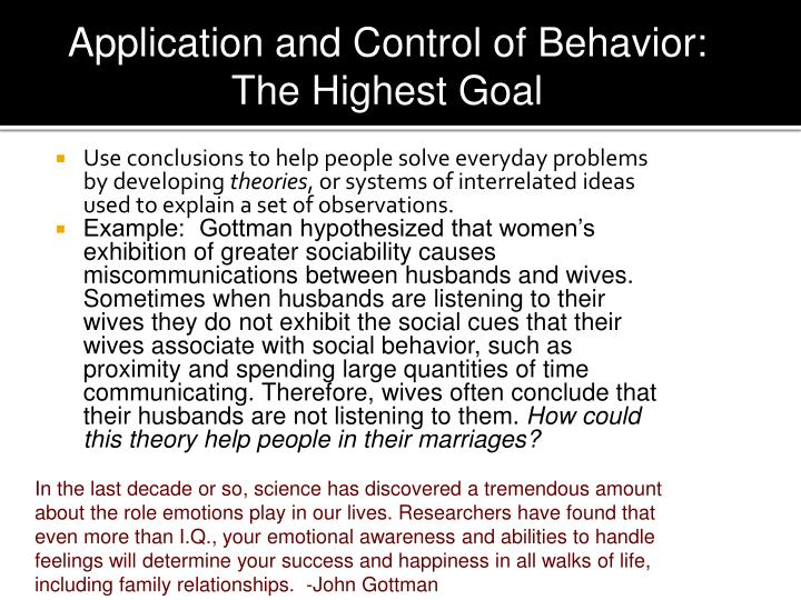 Application and Control of Behavior:  Highest Goal
