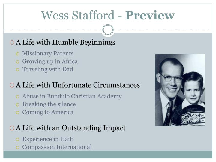 Wess stafford preview