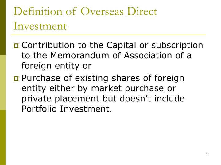 Definition of Overseas Direct Investment