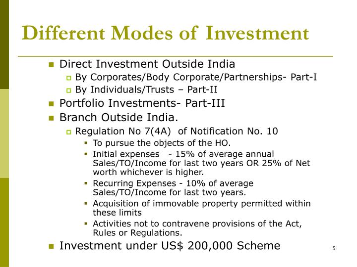 Different Modes of Investment