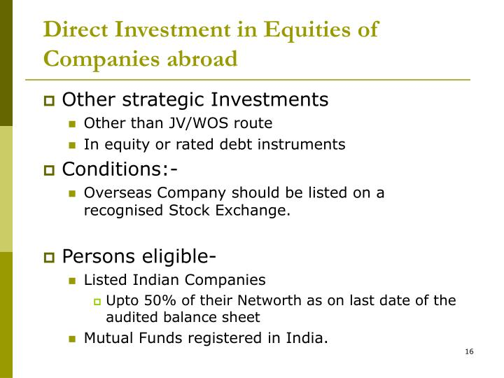 Direct Investment in Equities of Companies abroad