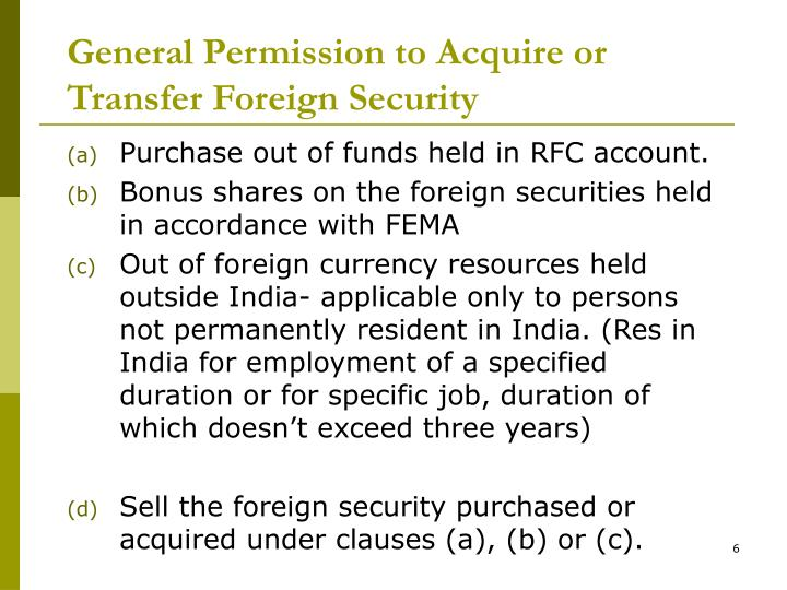 General Permission to Acquire or Transfer Foreign Security