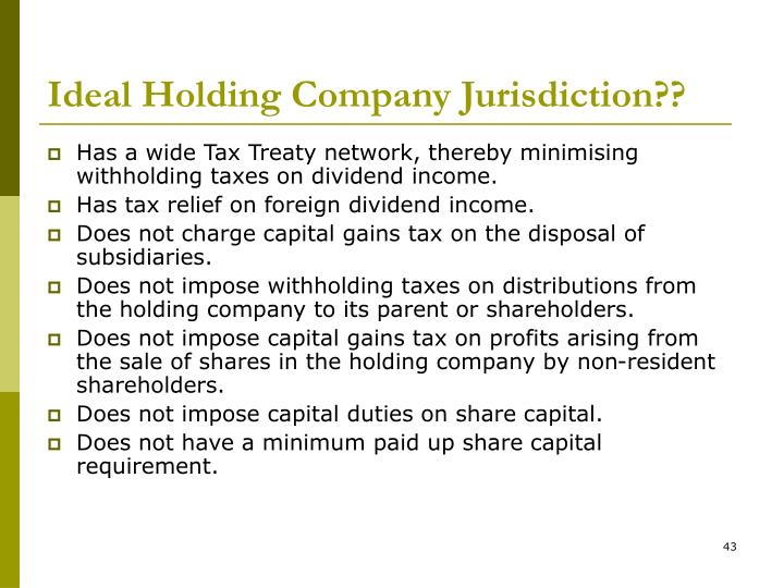 Ideal Holding Company Jurisdiction??