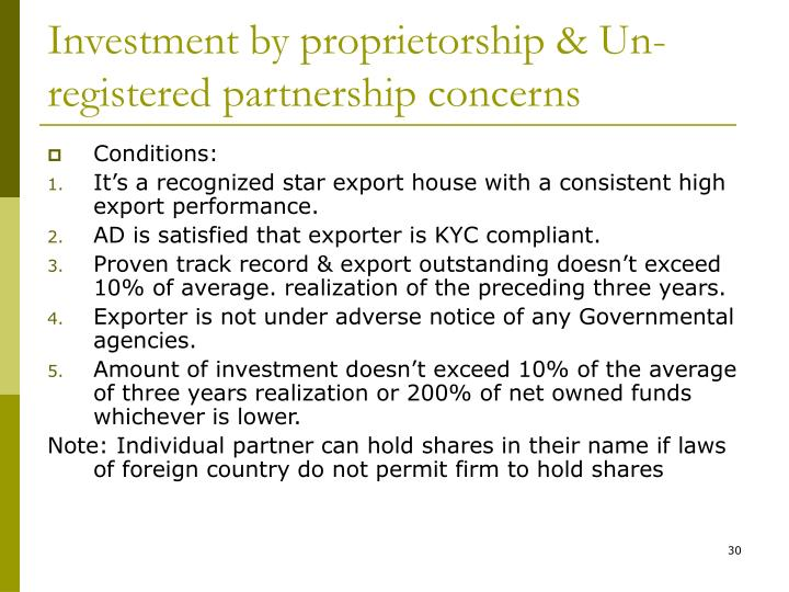 Investment by proprietorship & Un- registered partnership concerns