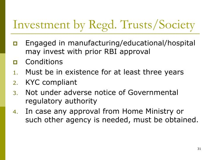 Investment by Regd. Trusts/Society