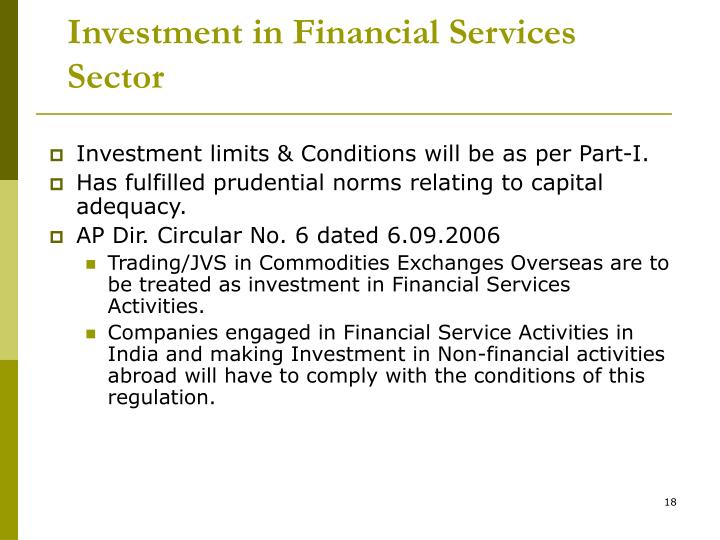 Investment in Financial Services Sector