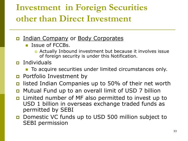 Investment  in Foreign Securities