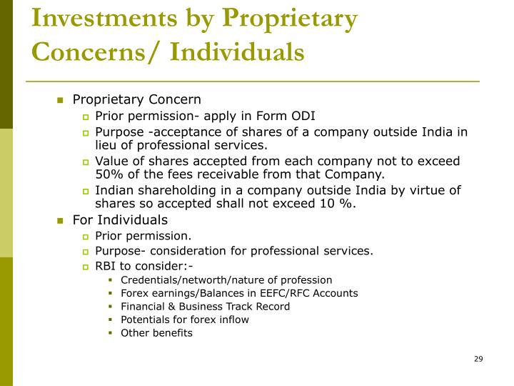 Investments by Proprietary Concerns/ Individuals