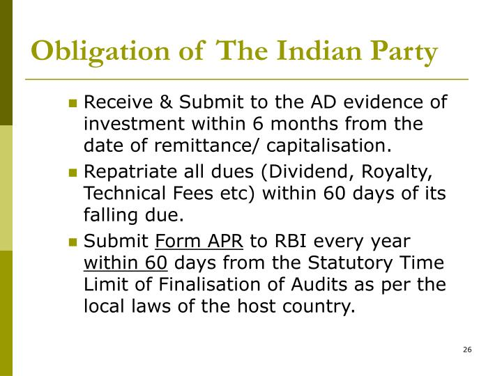 Obligation of The Indian Party