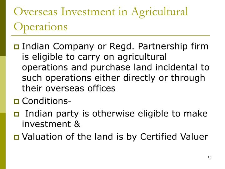 Overseas Investment in Agricultural Operations
