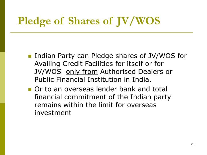Pledge of Shares of JV/WOS