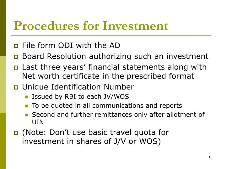 Procedures for Investment