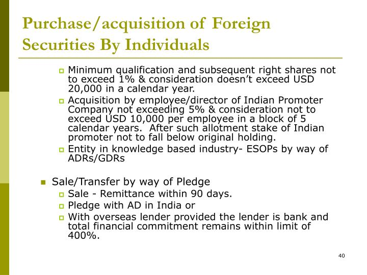 Purchase/acquisition of Foreign Securities By Individuals