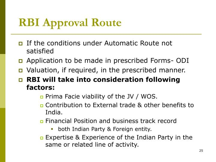 RBI Approval Route