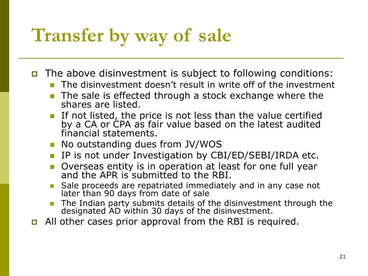Transfer by way of sale