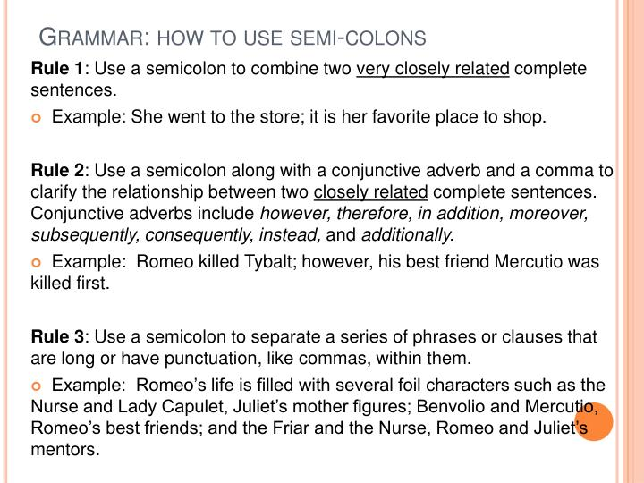 Grammar: how to use semi-colons