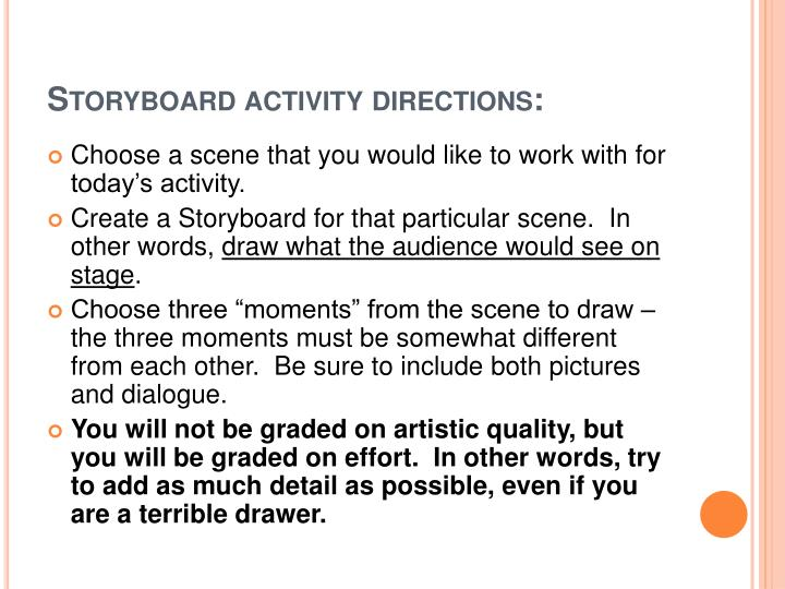 Storyboard activity directions: