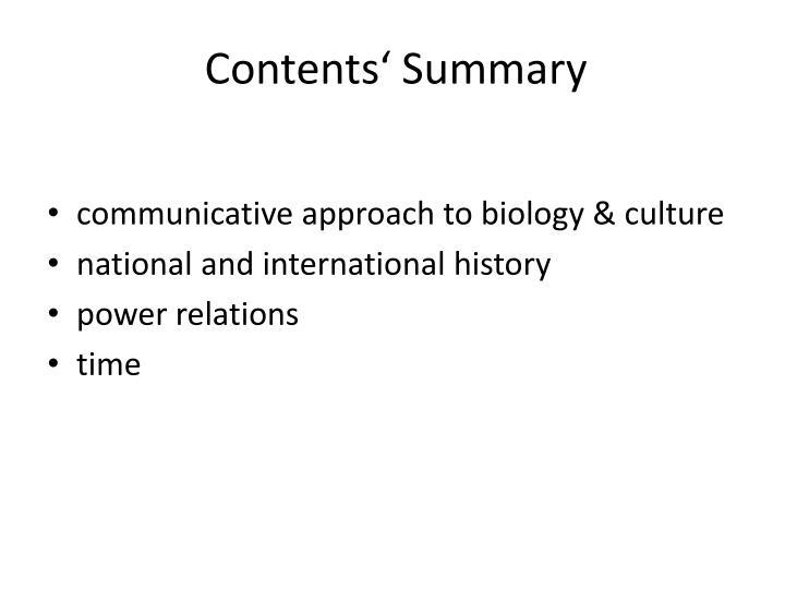 Contents' Summary