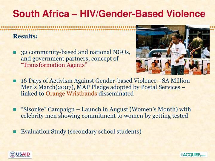 South Africa – HIV/Gender-Based Violence