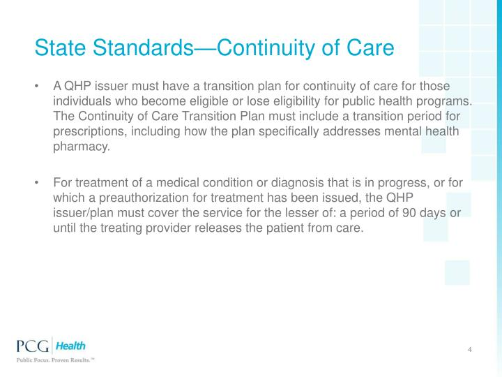 State Standards—Continuity of Care