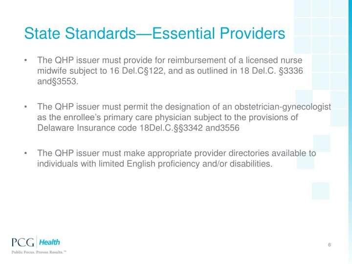 State Standards—Essential Providers